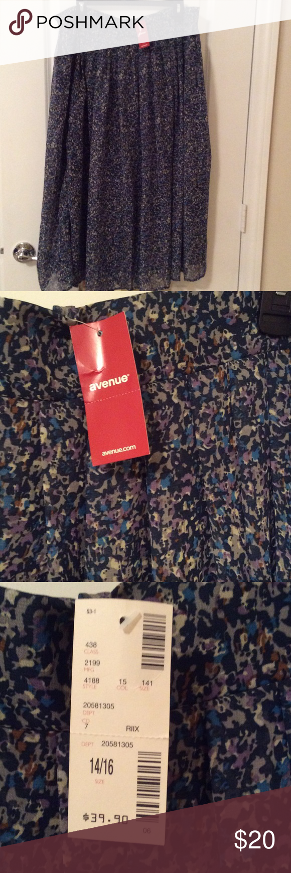 Avenue Flaired Skirt in blue green pattern lined BWT Avenue Sheer Skirt in blue and green pattern.  100% polyester.  Lined in navy.  Very full skirt with plain waist band in front and elastic and gathered waist in back.  Machine washable on gentle hang to dry. Avenue Skirts A-Line or Full