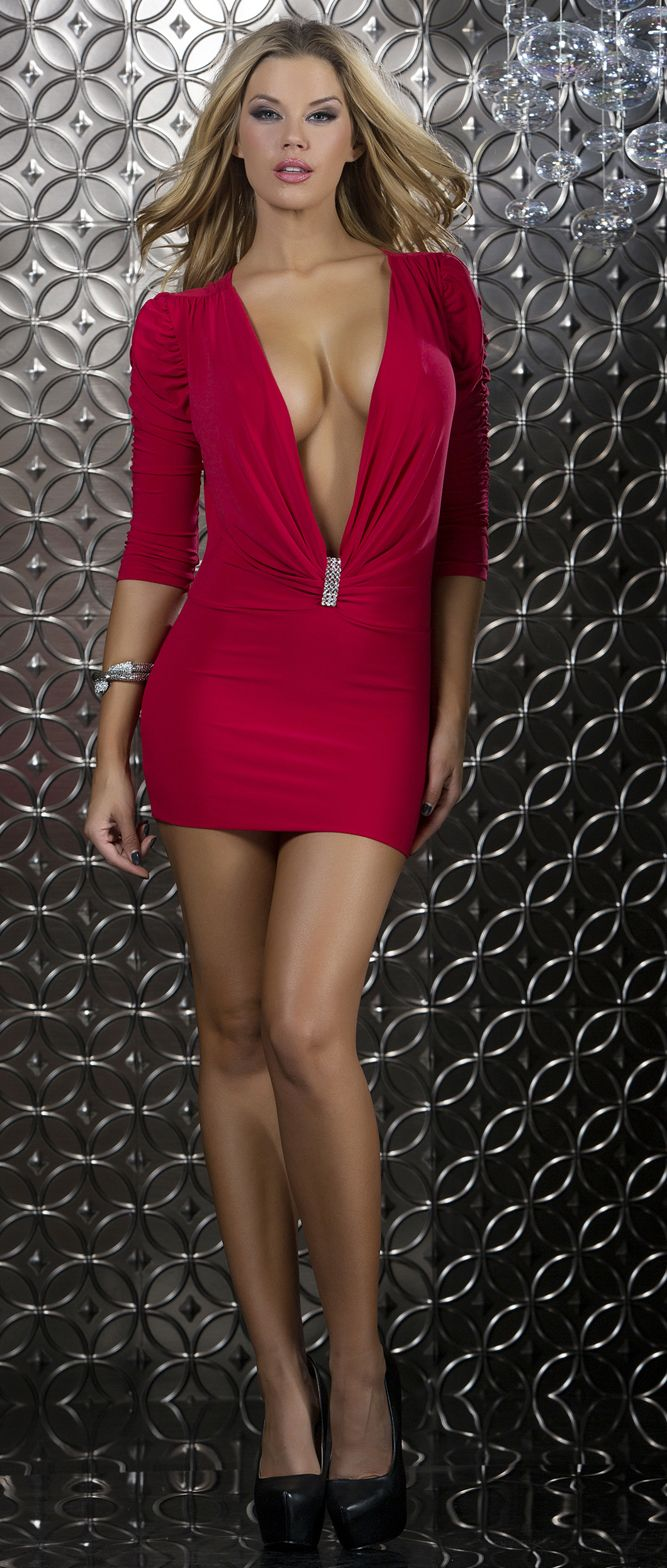 d46ee7d3ed64 FPR883971 Red Mini dress with deep plunging neckline and ornamental  rhinestone detail. Are you looking for something sexy yet classy to wear  for your next ...