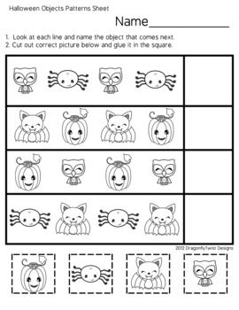 halloween friends is a printable worksheet for completing patterns ab and is geared for early. Black Bedroom Furniture Sets. Home Design Ideas