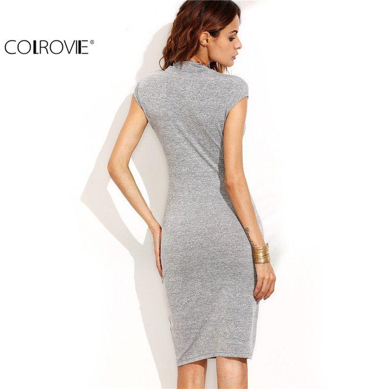ffb85dd2b722 COLROVIE 2017 Grey High Neck Cap Sleeve Sheath Knee Length Dress Office  Ladies Work Wear Slim Pencil Dress