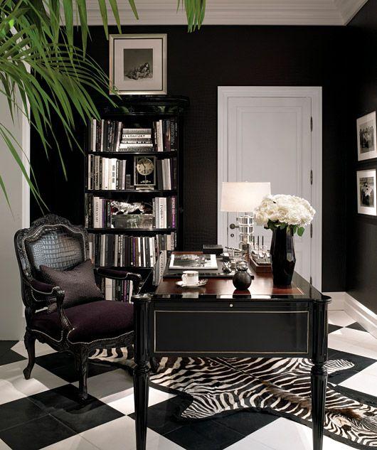 Leopard Print Rug In Dining Room: Ralph-lauren-black-decorating-office-ideas-zebra-print-rug