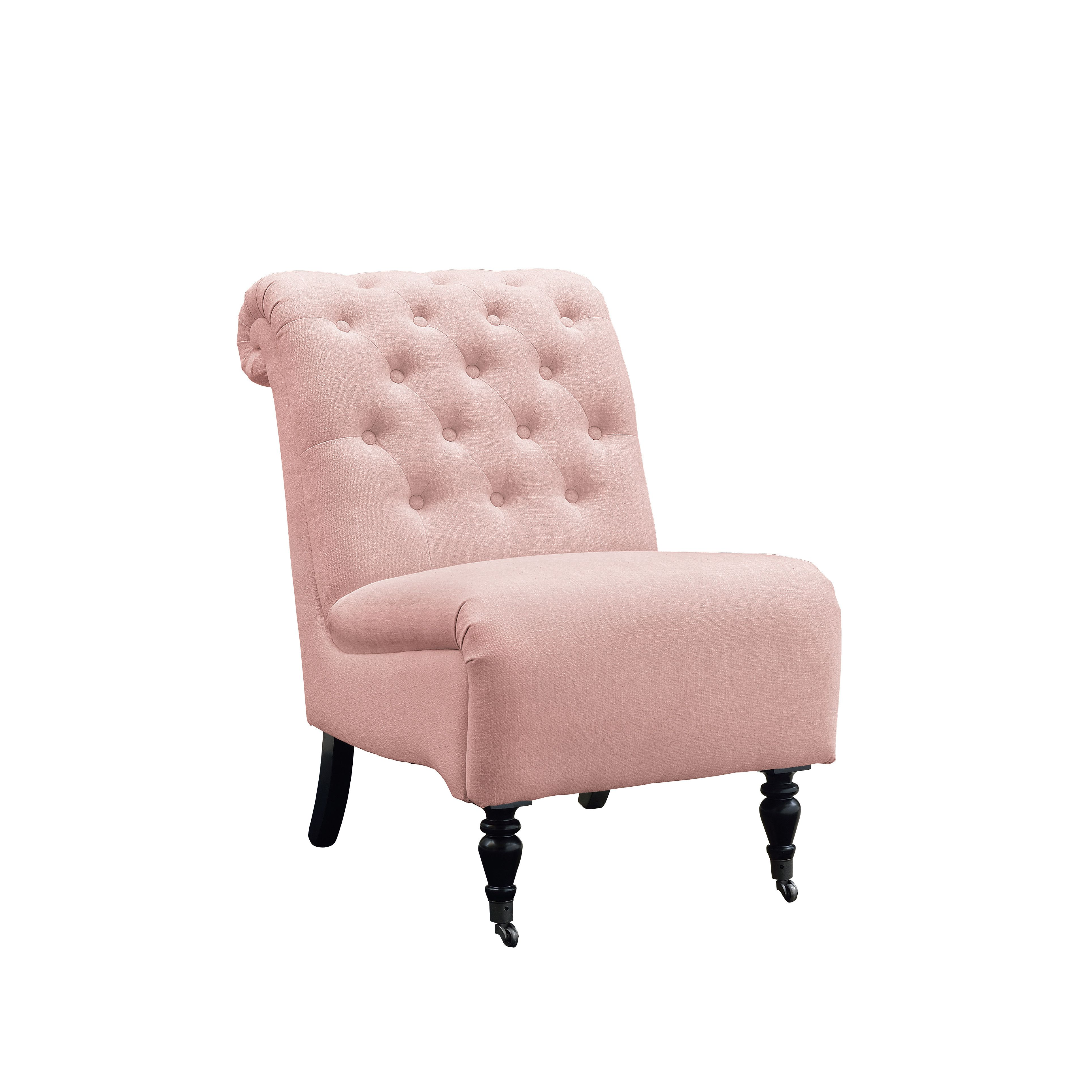 house of hampton cyclamen roll back tufted parson chair | home