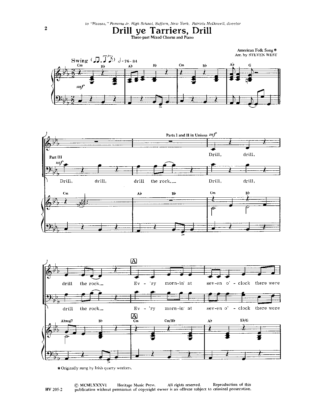 Drill Ye Tarriers Drill (SAB ) by WEST| J.W. Pepper Sheet Music ...
