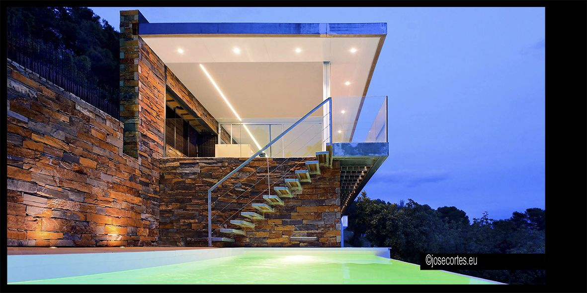 Exterior #piscina #escalera #moderno #casas via @planreforma ...