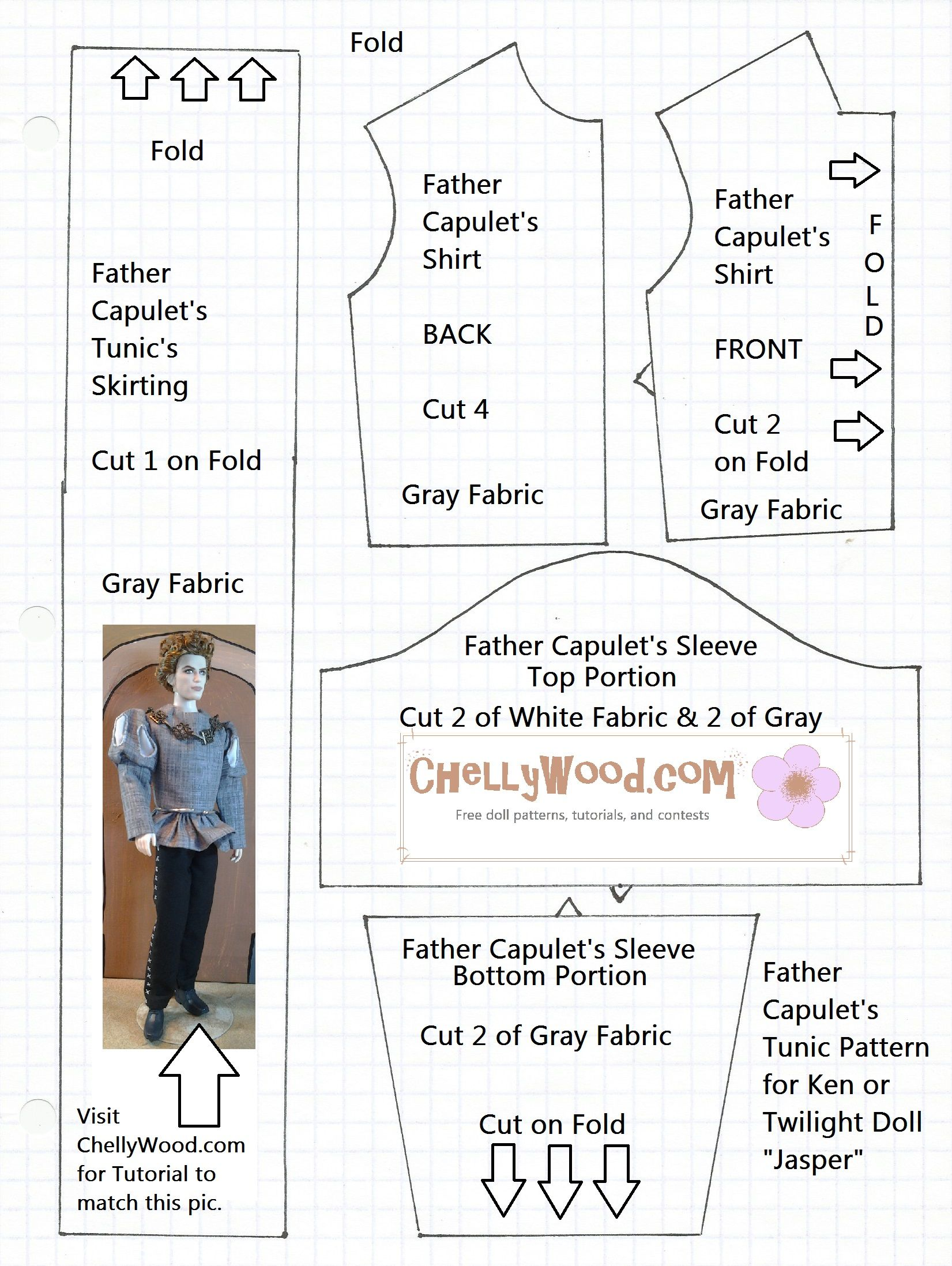 Superb image inside free printable ken doll clothes patterns