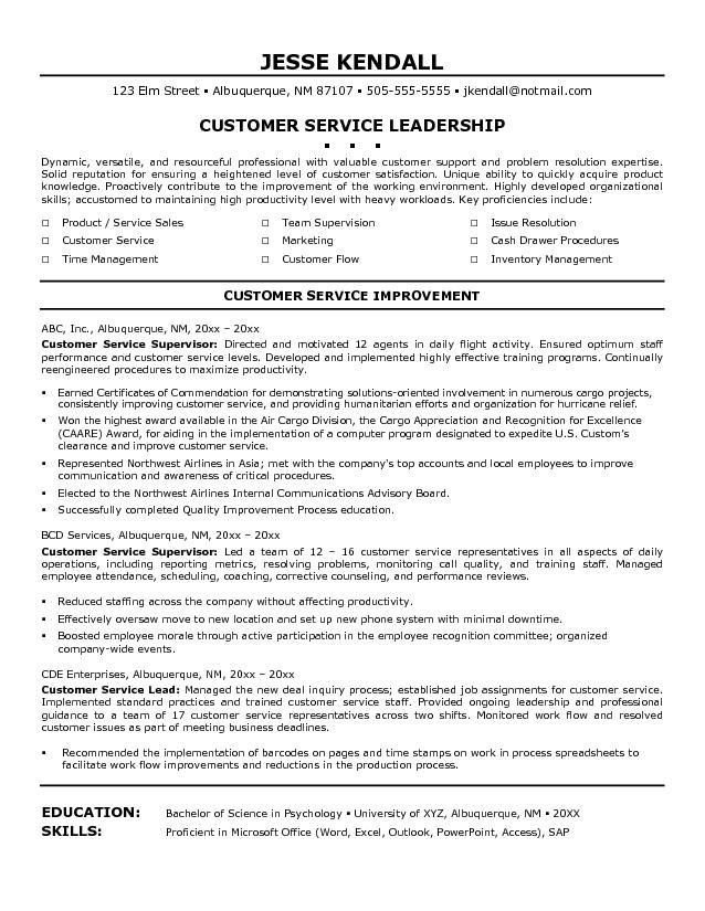 resume template for customer service customer experience manager