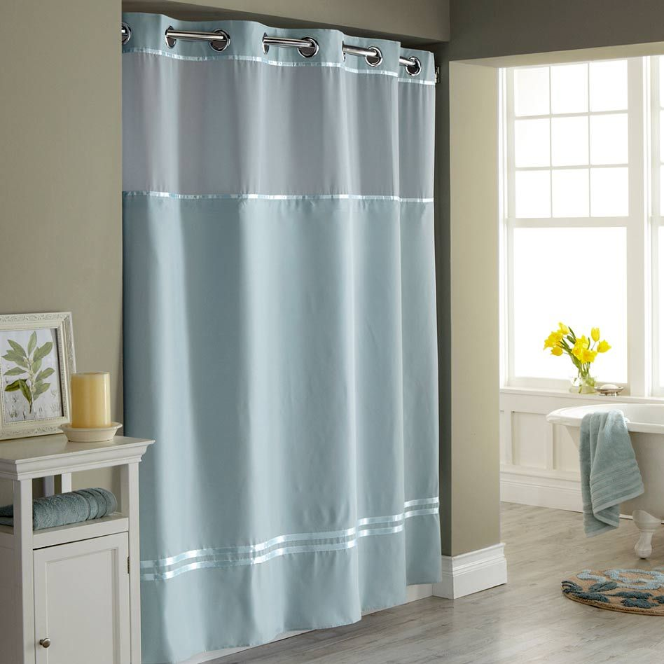 Hookless Shower Curtain With Snap Liner Fabric Shower Curtains Blue Shower Curtains Hookless Shower Curtain