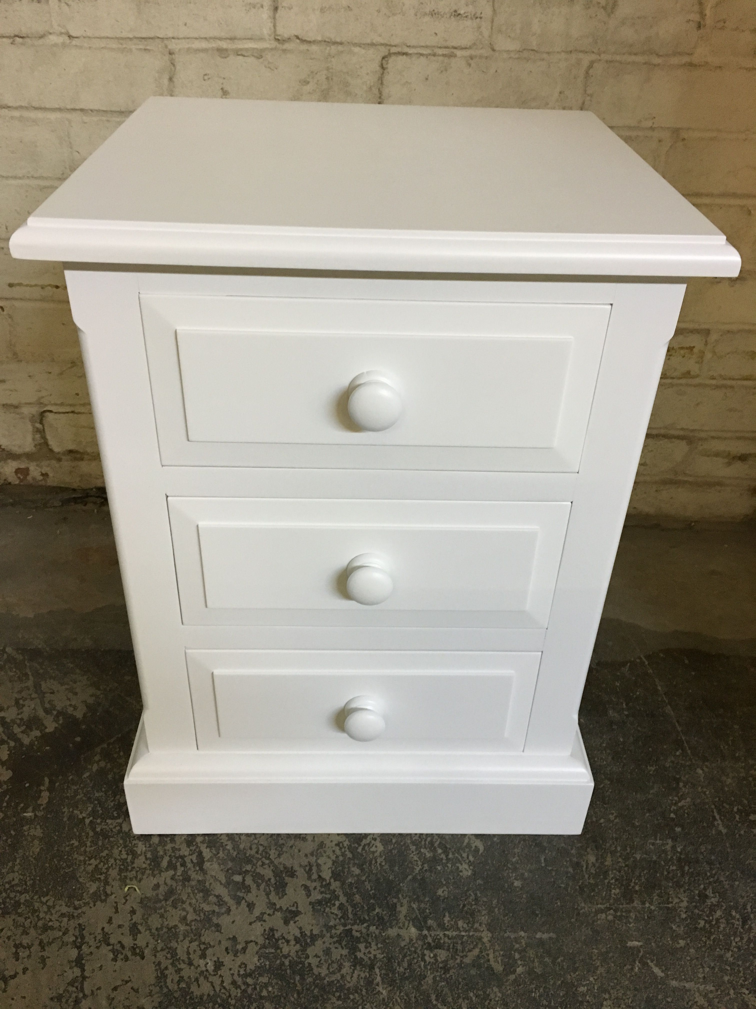 Traditional Bedside Table Painted White. Cobwebs Furniture Company.