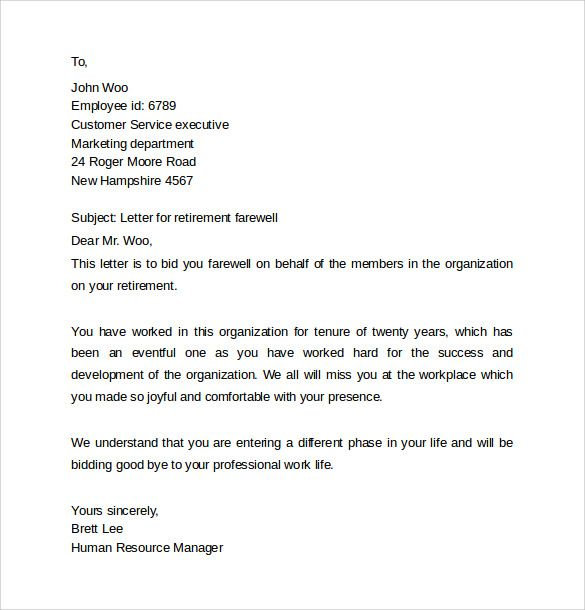 Farewell Letters Coworkers Download Free Documents Word Letter Doc