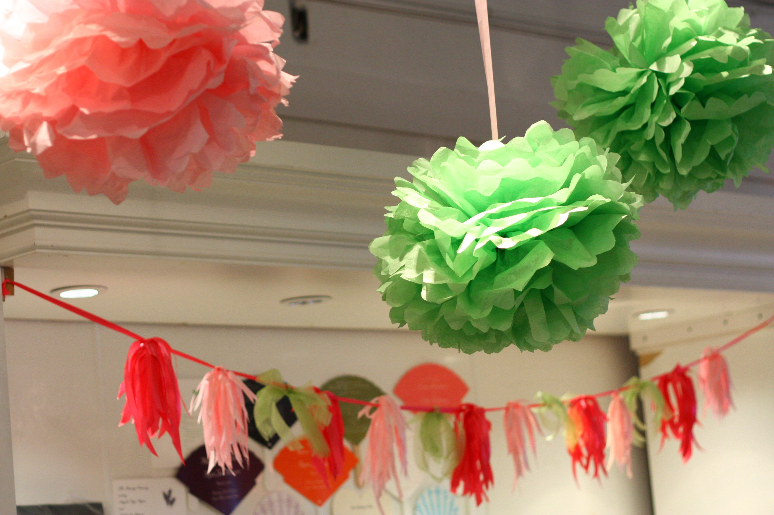 pink and green ribbon garland