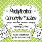 Multiplication Concepts Puzzle: covers arrays, repeated addition, and grouping. Copeland's Got Class