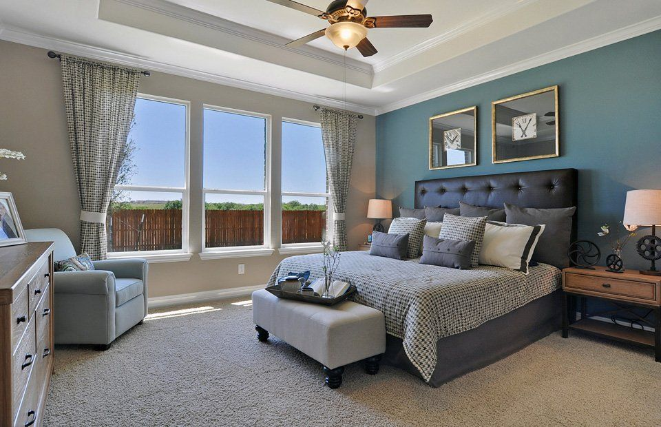 Love the coffered ceiling and wall of windows in the master suite of Pulte Homes 'Winsford' model.