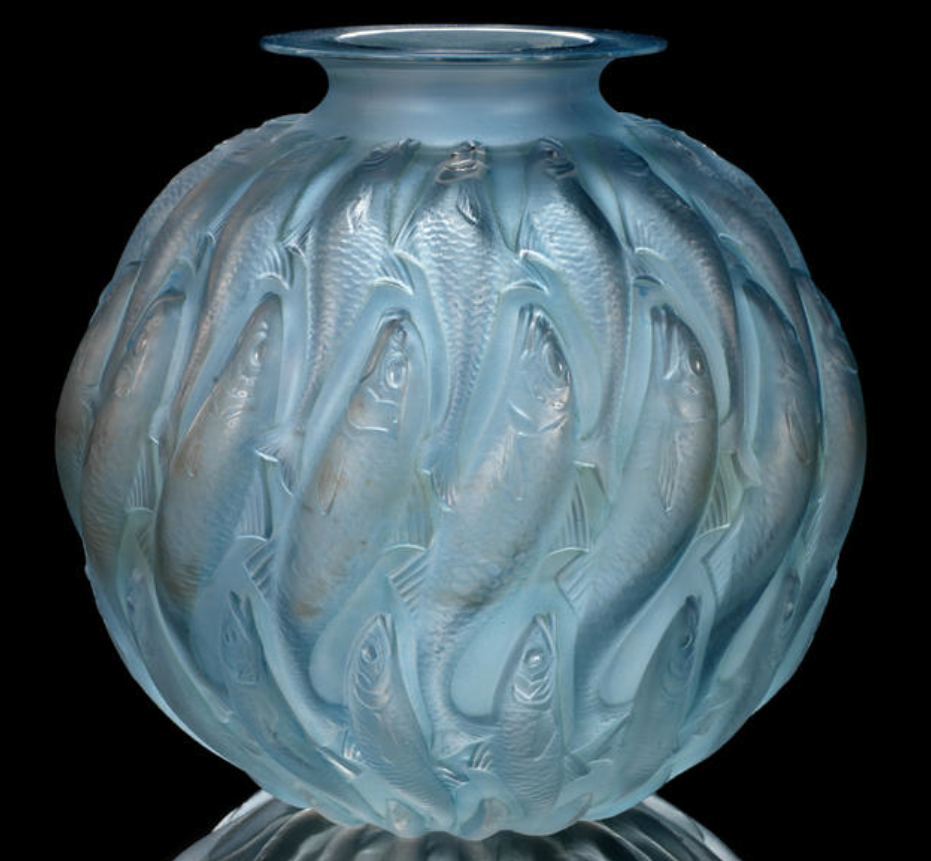René Lalique  'Marisa' a Vase, design 1927  frosted glass, heightened with blue staining  22.5cm high, etched 'R. Lalique'