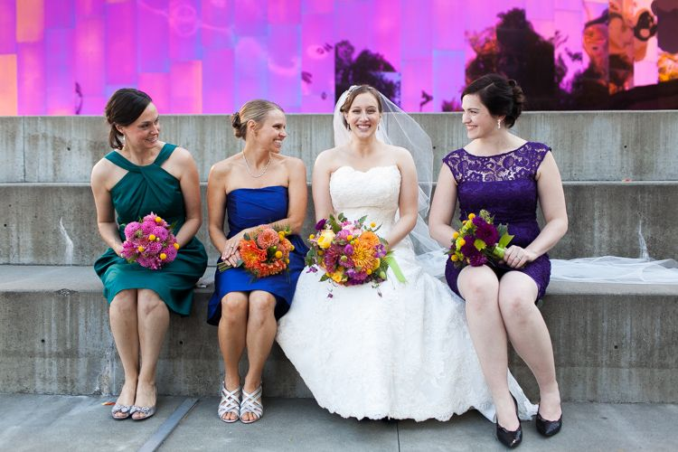 different colored bridesmaid dresses, JayLee Photography