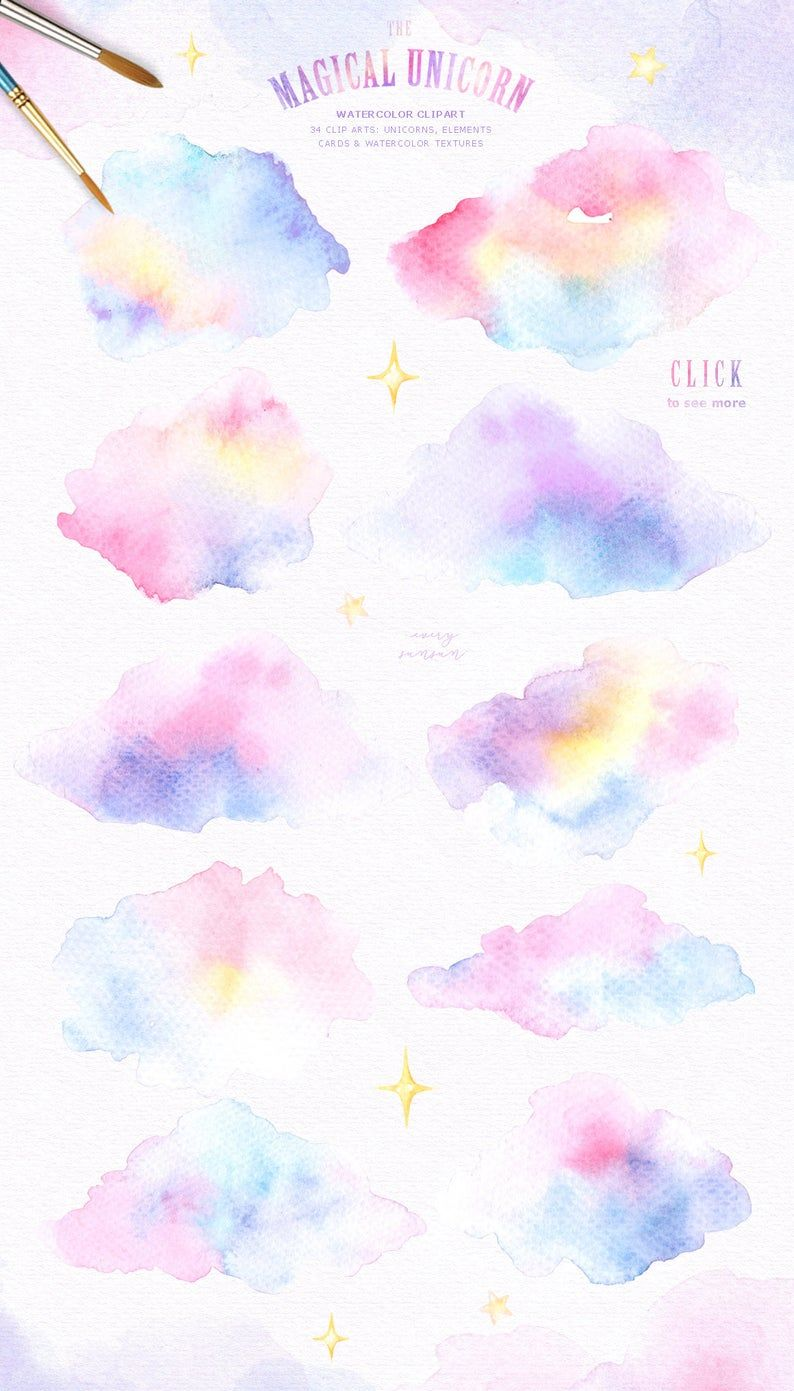 The Magical Unicorn Watercolor Set Rainbow Clipart Woodland