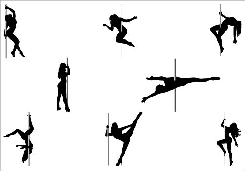 Pole Dancer Silhouette Vector Graphics Pack Tatoo Desenho Bordado