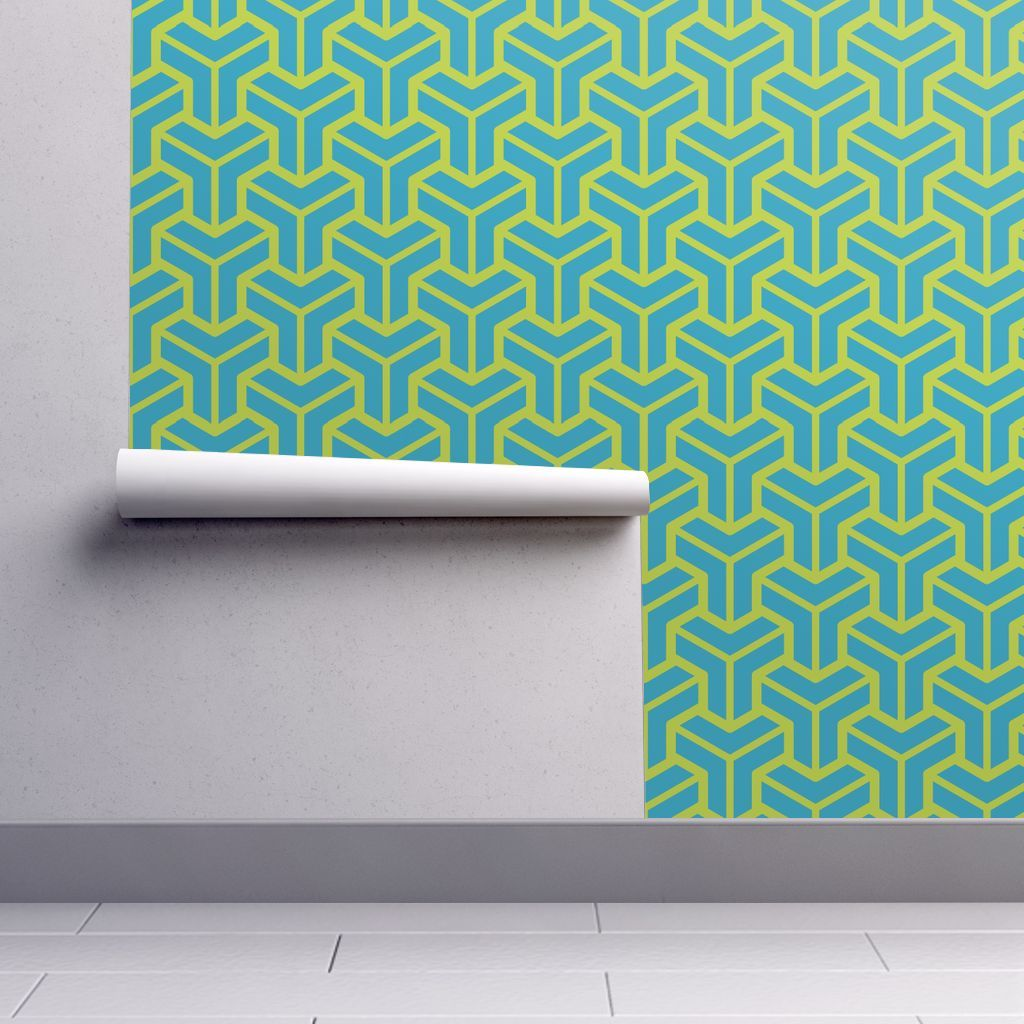 Wallpaper Geometric Pattern Pipes Green