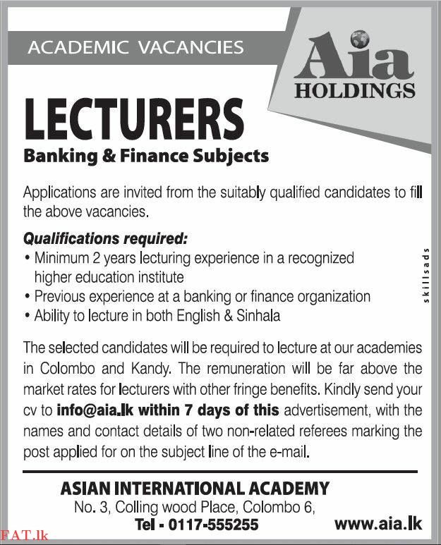 Wanted Lecturers Banking And Finance Subjects Teaching Jobs Finance Finance Organization