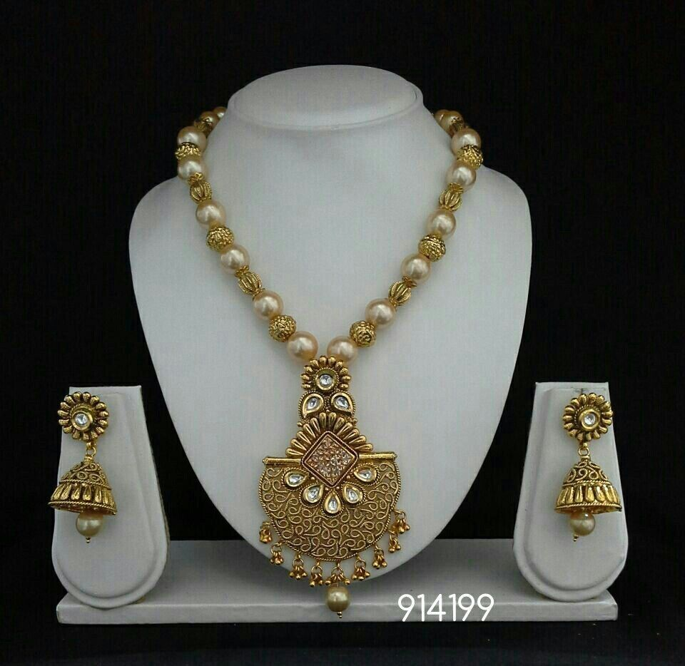 Polki necklace set indian jewelry bollywood gold pearl plated ethnic