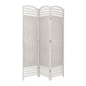 Oriental Furniture 3-Panel White Wood and Rattan Folding Indoor ...