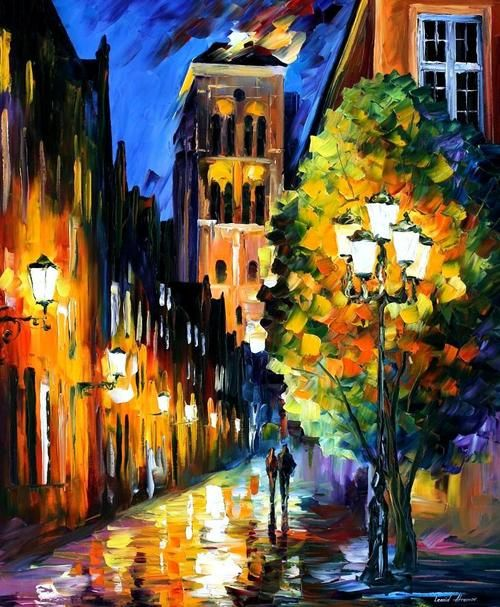 """The Lights In The Old Town""    - Leonid Afremov"