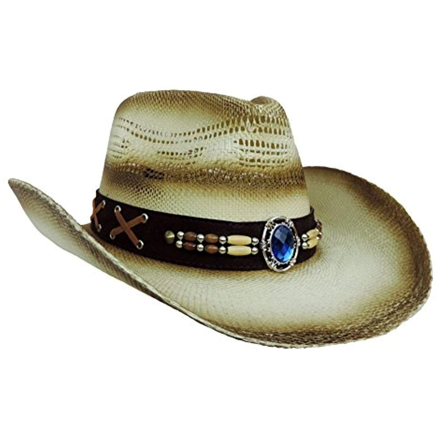 a15eea30388 Tea Stained Straw Western Cowboy Hat w  Blue Jewel Band   Want additional  info