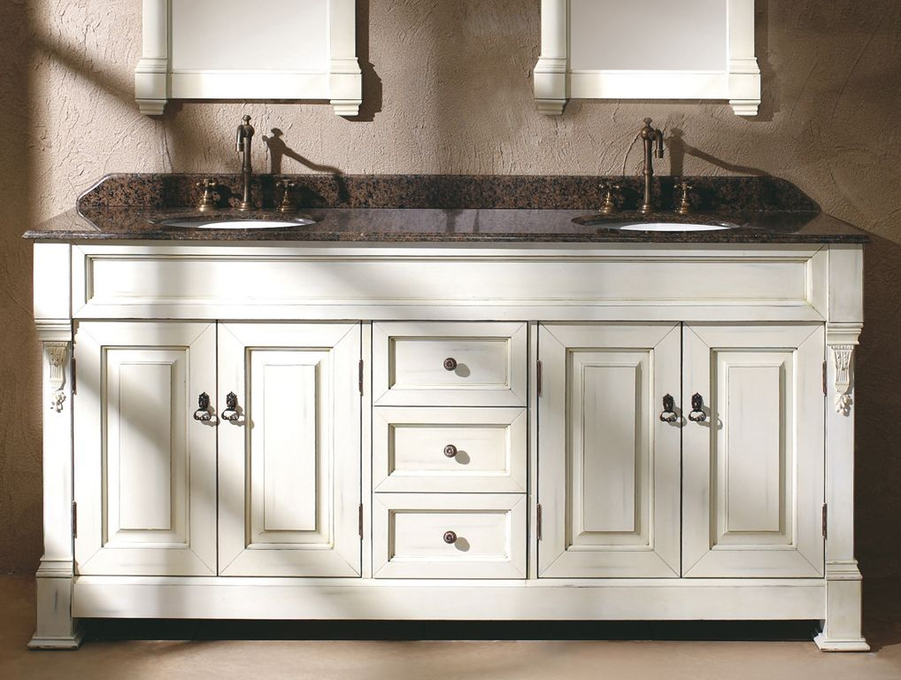 AREIL Double Sink Bathroom Vanity Base Cabinet inchWhite ...