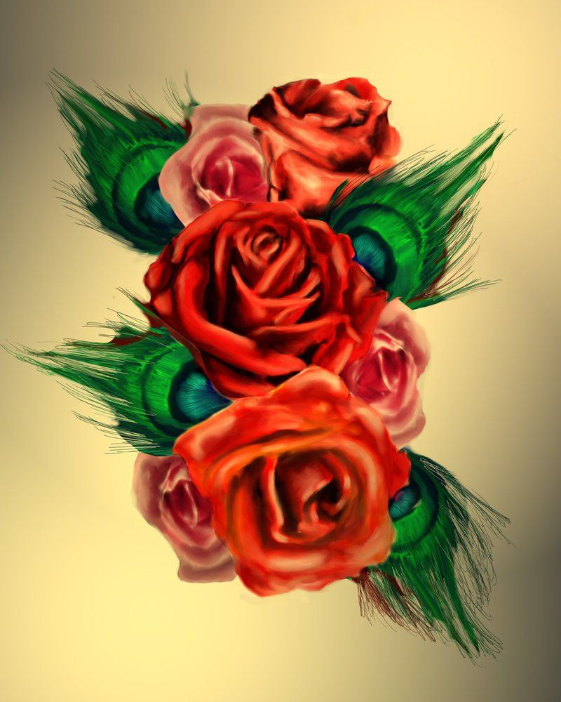 Peacock flower tattoo designs - Rose Peacock Feather Tattoo Design By Jonboy8520