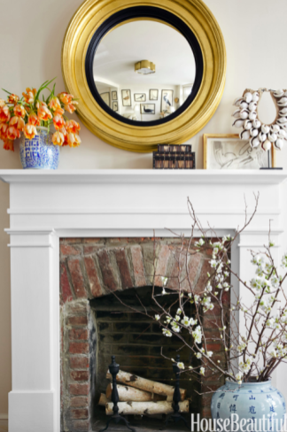 Modern and historical fireplace all in one. House Beautiful.