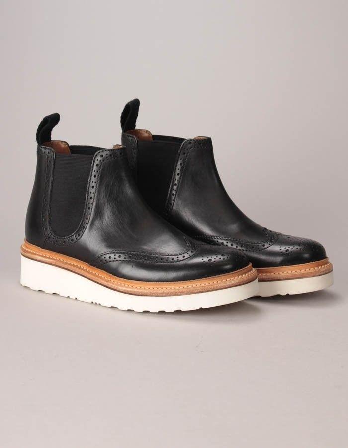 a19baa8a23da Grenson Black Alice Brogue Chelsea Boots
