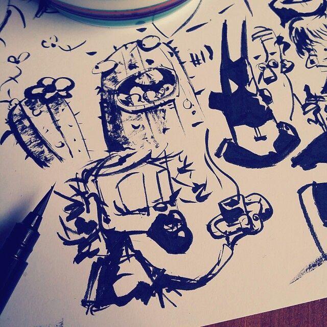 Inktober 2015, day 13-18 coffee sketches on Behance #inktober #coffeesketch #characterdesign