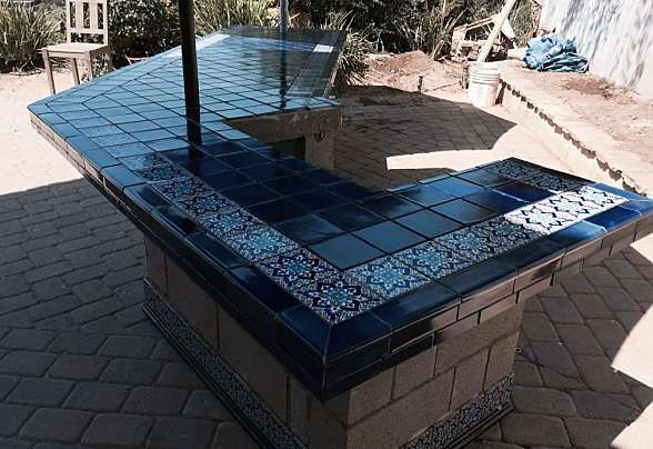 Image Result For Outdoor Kitchen Mexican Tile Tile Countertop