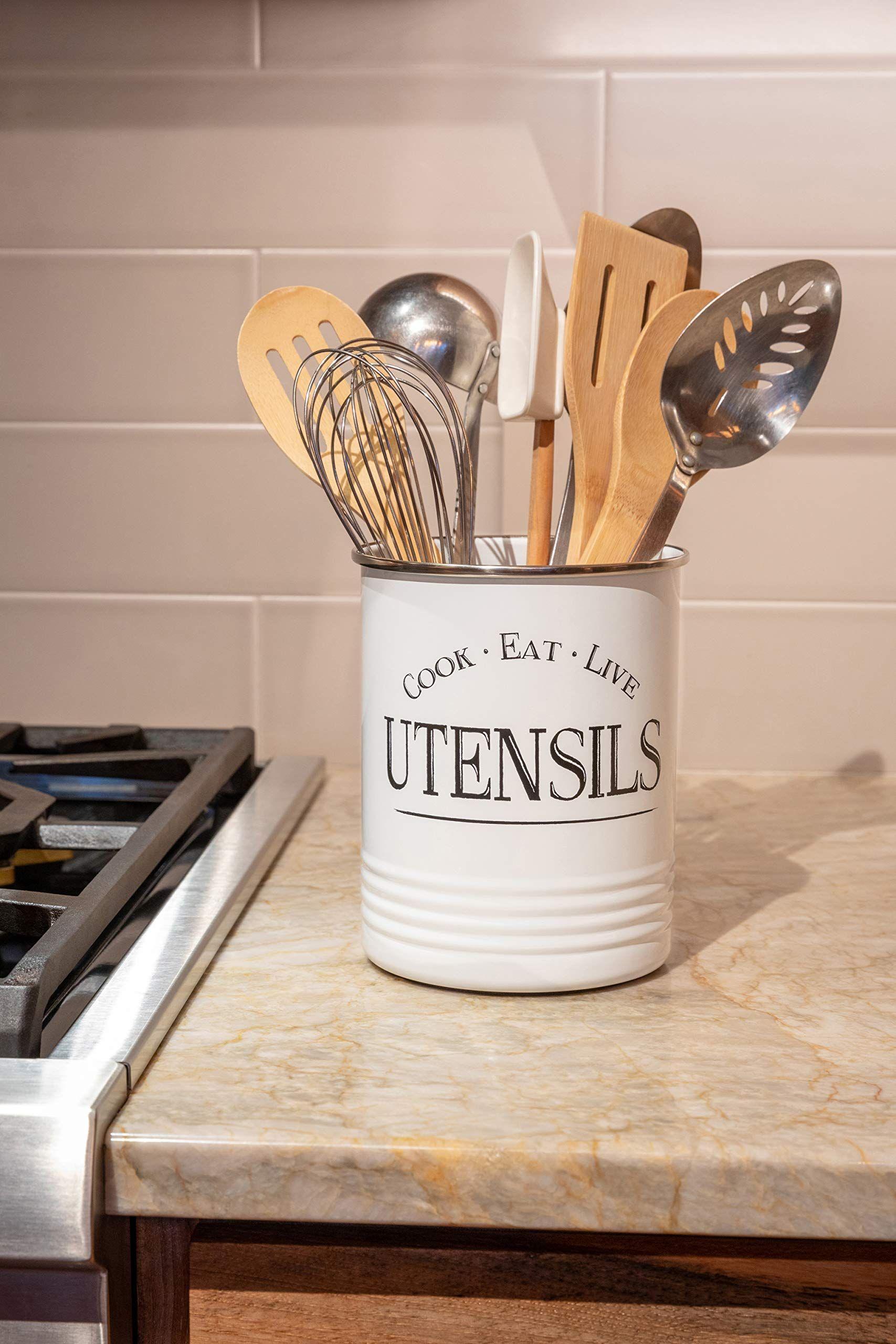 kitchen utensil holder farmhouse decor for the home premium padded base white utensil caddy on farmhouse kitchen utensils id=69912