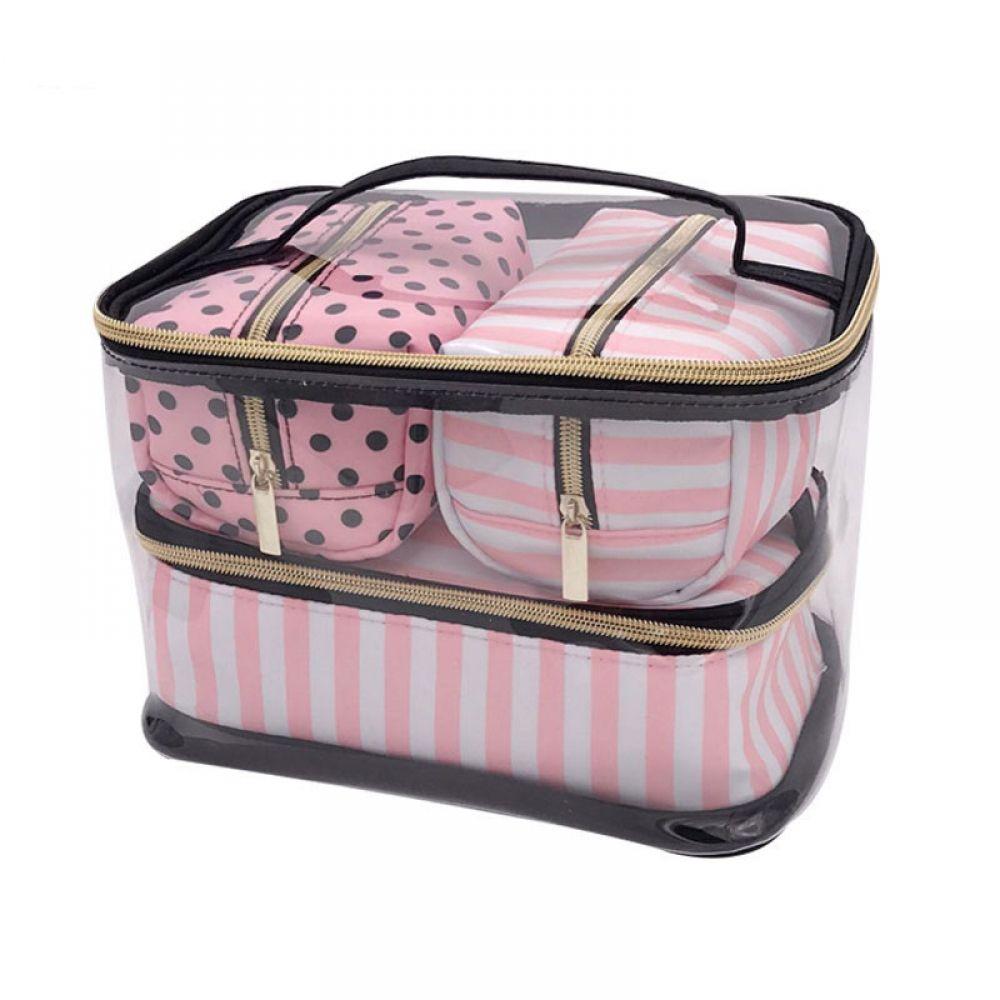 Pink Transparent Cosmetic Bag Organizer Travel Toiletry Bag