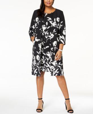 Kasper Plus Size Printed Topper Jacket Dress Macys Pinterest