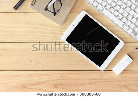 Office Workplace With Text Space Wooden Table With Office