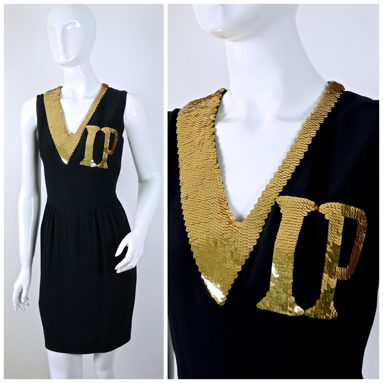 b9371972b44 Vintage RARE Moschino COUTURE VIP Black Dress €856.78 EUR Novelty Print