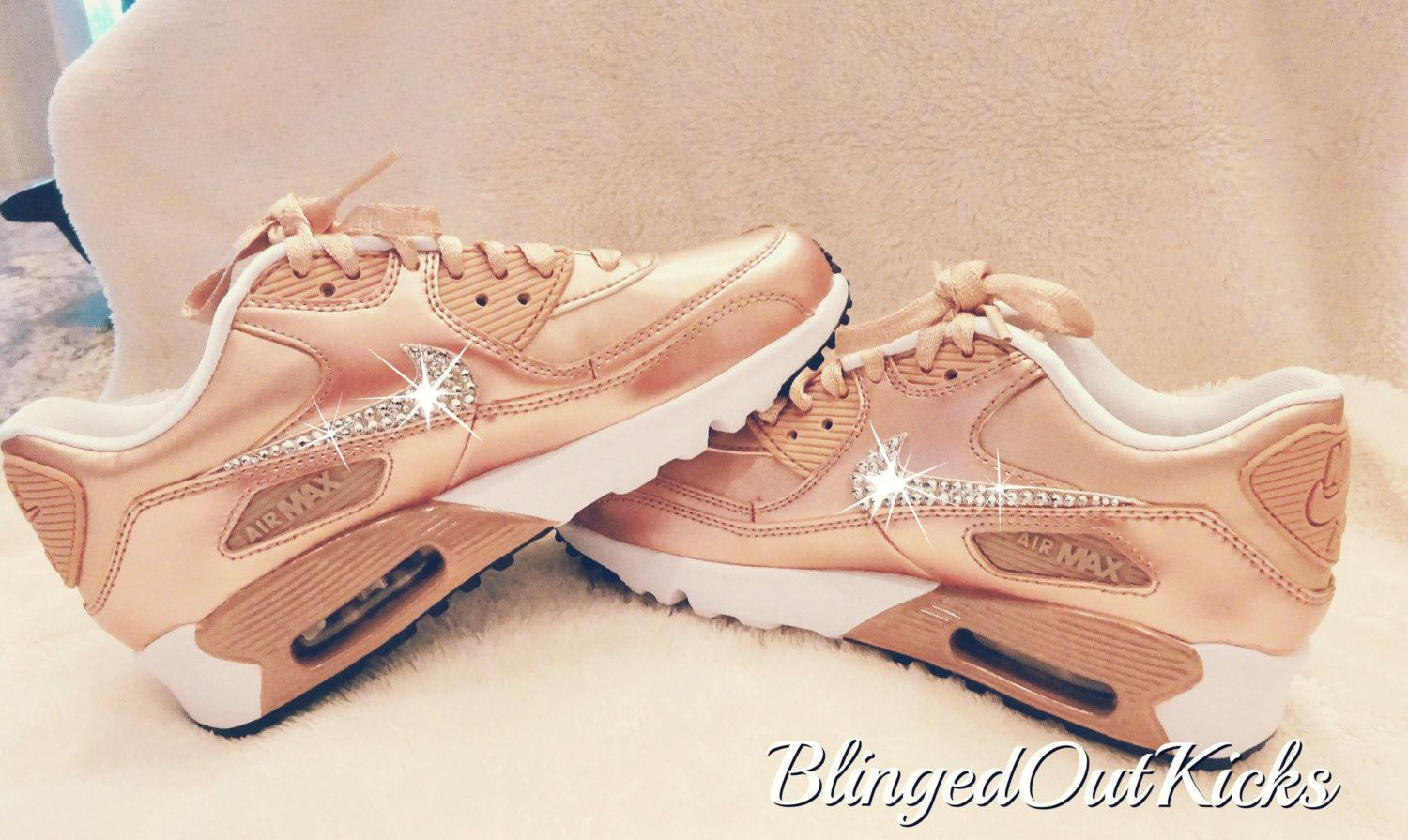 22c40ecaa4c1 Bling Womens Nike Air Max 90 Rose Gold with Swarovski crystals by  ShopBlingedOutKicks on Etsy
