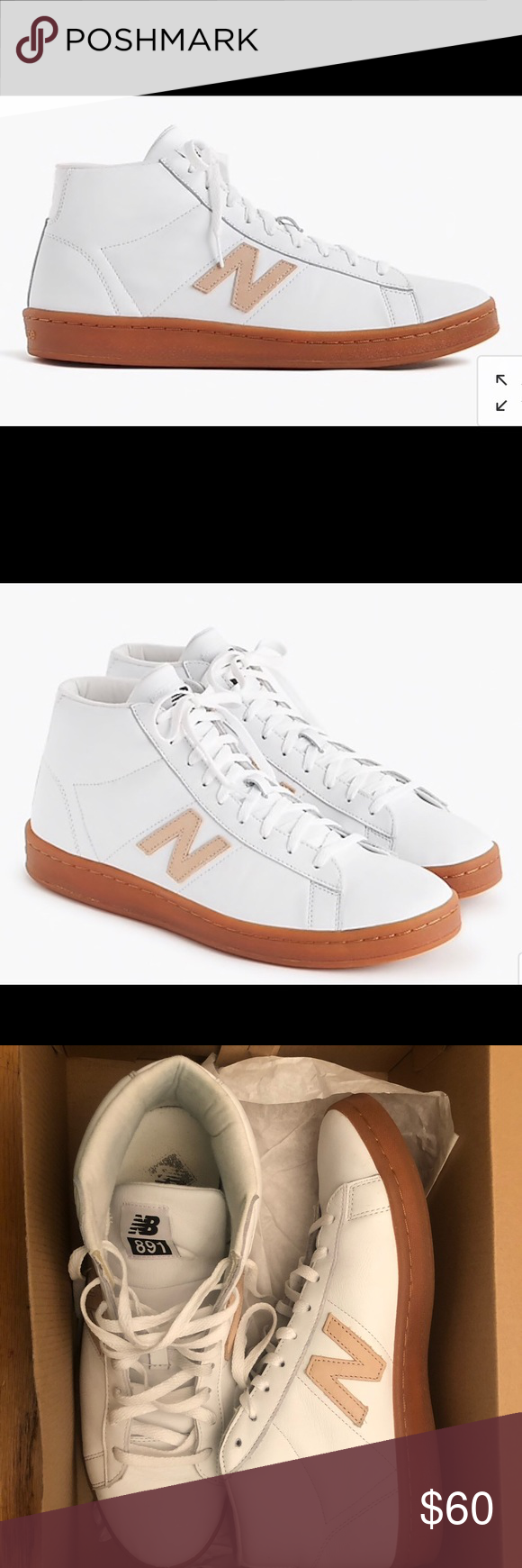 ffeb70a3cb7c New Balance for JCrew 891 leather hightop sneakers New Balance® for J.Crew  891 leather high-top sneakers in white. Sz 10.5. Worn 2 times. Like brand  new.