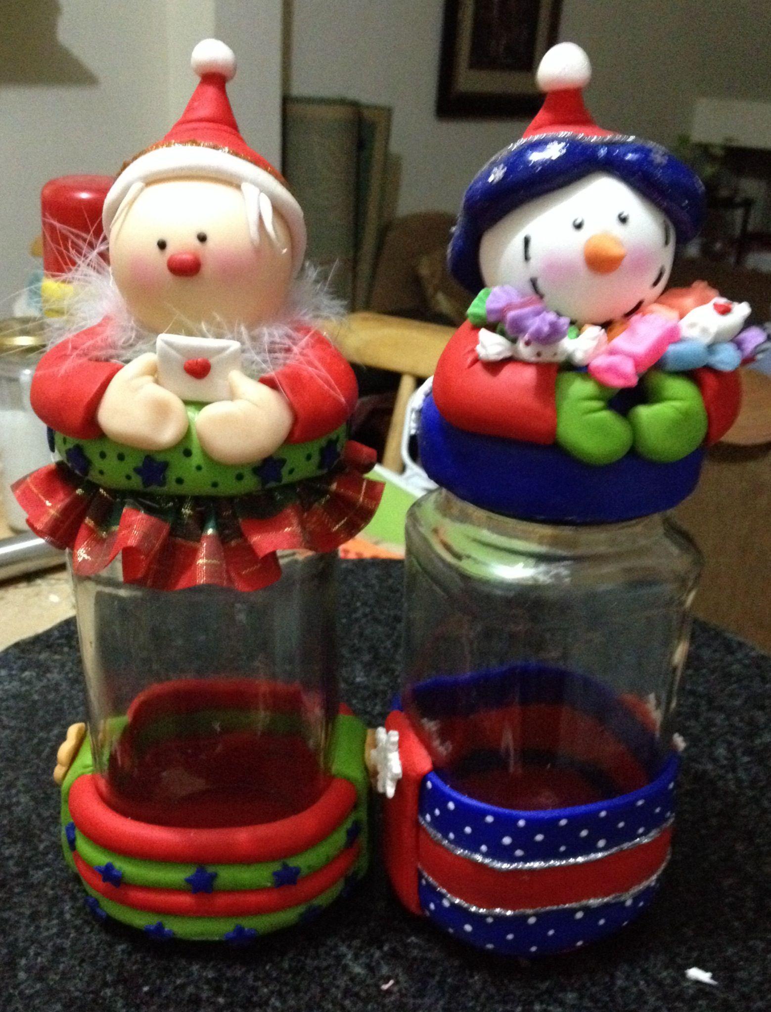 Resultado de imagen para adornos navide os con botellas de for Envases de vidrio decorados