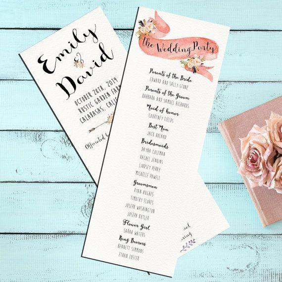 pink floral wedding program printable watercolor flower ceremony