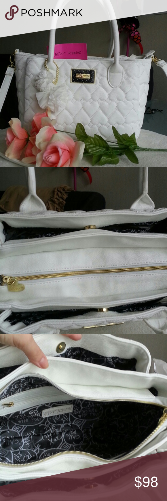 """NWT Betsey Johnson White Satchel It has removeable crossbody strap too. Theree compartment. Measurements 8.5"""" x 6.5"""" x 12"""" . Strap drop 7"""". Crossbody drop 24"""". Retail $98 Betsey Johnson Bags Satchels"""