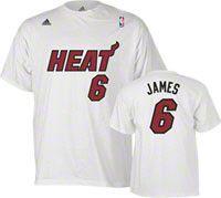 LeBron James adidas White Name and Number Miami Heat T-Shirt