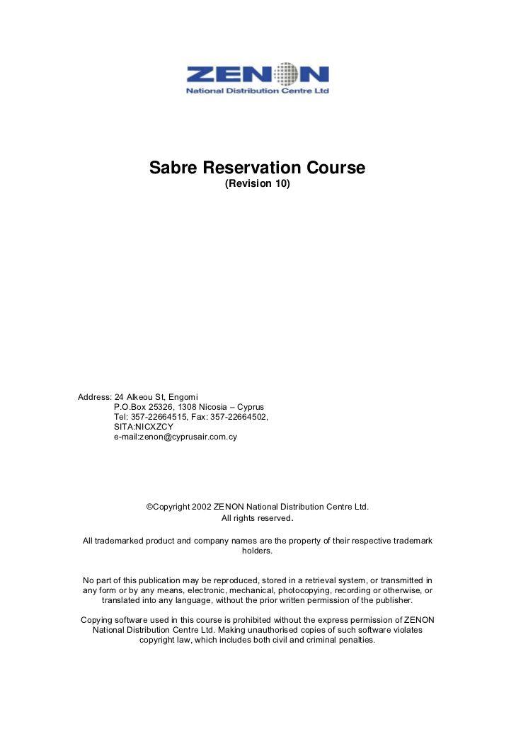 sabre reservation course revision address alkeou engomi sample - reservation letter