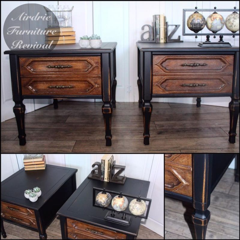 Nightstands in Lamp Black and Flat Out Flat Topcoat