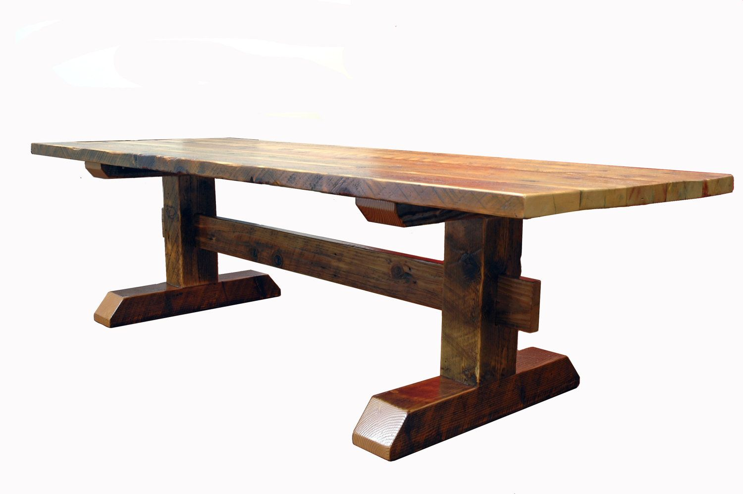 reclaimed timber frame trestle table farm table