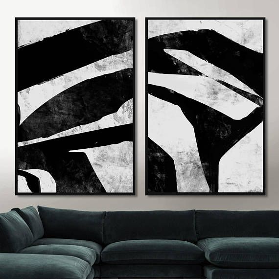 Set of 2 prints black white painting printable abstract art