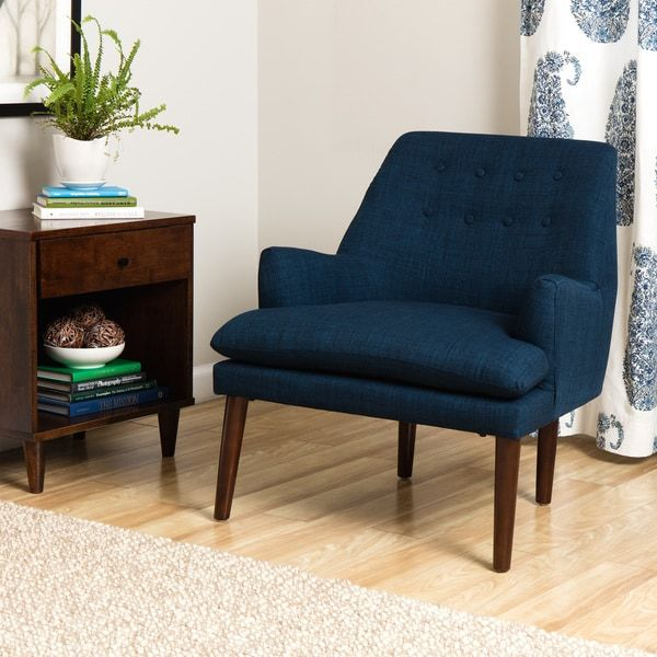 Taylor Mid Century Navy Blue Tufted Accent Chair Kitchen/Living