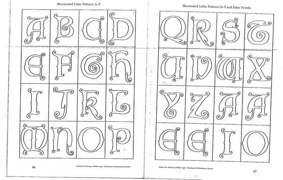 Medieval alphabet coloring pages medieval alphabet for Illuminated alphabet templates