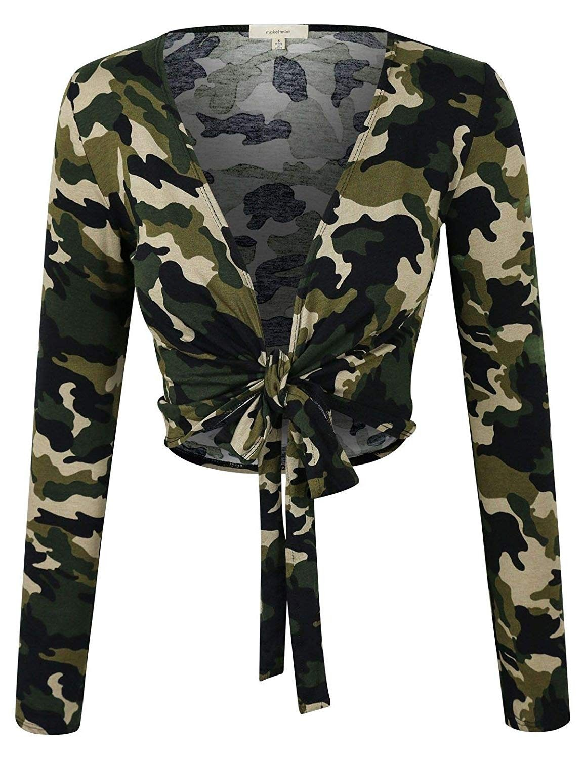 Women's Camouflage Front Tie Knot Long Sleeve Cropped T-Shirt Top YIL0025-CAMO-SML - CO18OSQNAL0 - S...